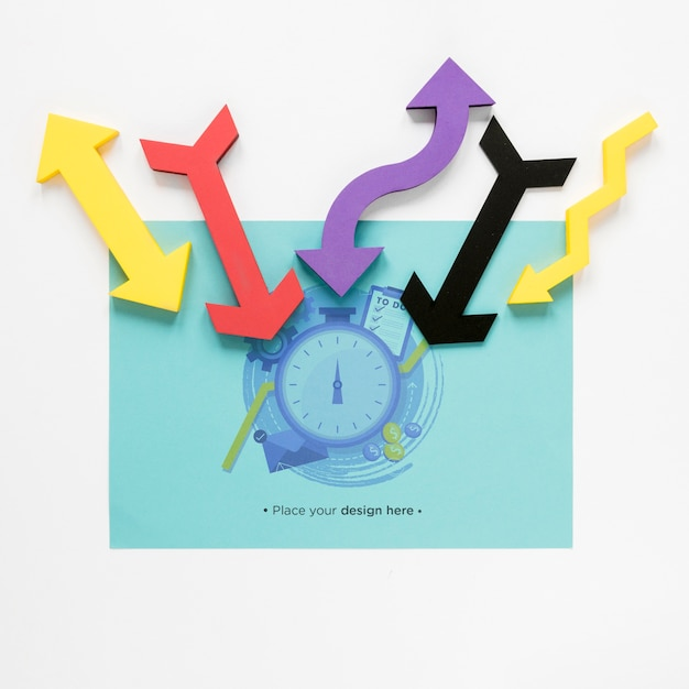 Colourful arrows and time management Free Psd