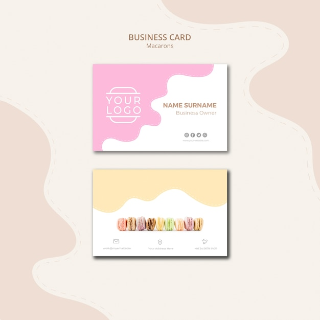 Colourful french macarons business card template Free Psd