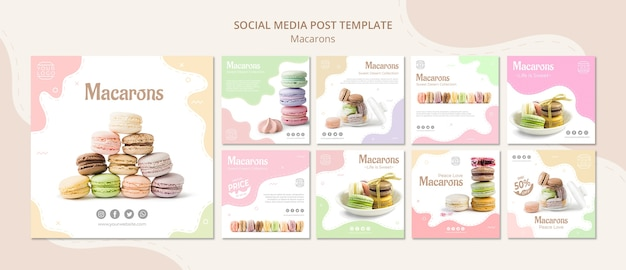 Colourful french macarons social media post Free Psd