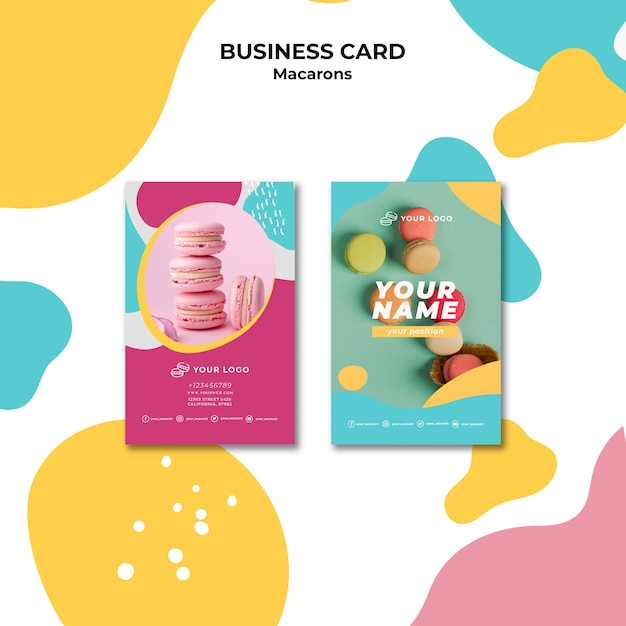 Colourful french macaroons business card Free Psd