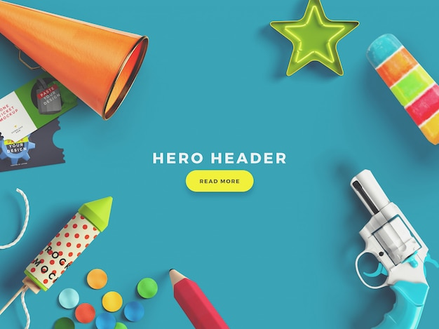 Colourful hero/header custom scene generator PSD file