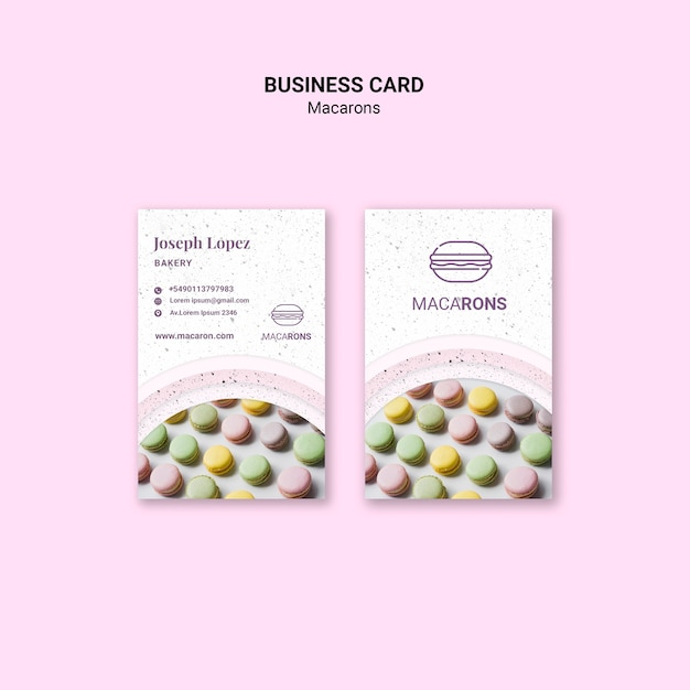 Colourful macarons business card template Free Psd
