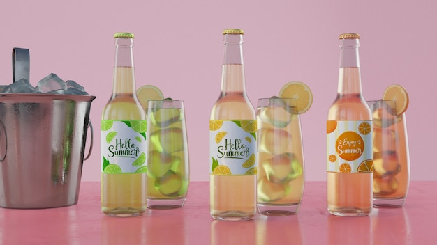 Colourful soda bottles with pink background Free Psd