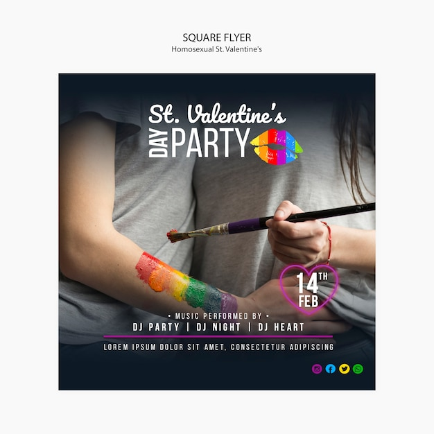 Colourful square flyer for st. valentine's lgbt party with photo Free Psd