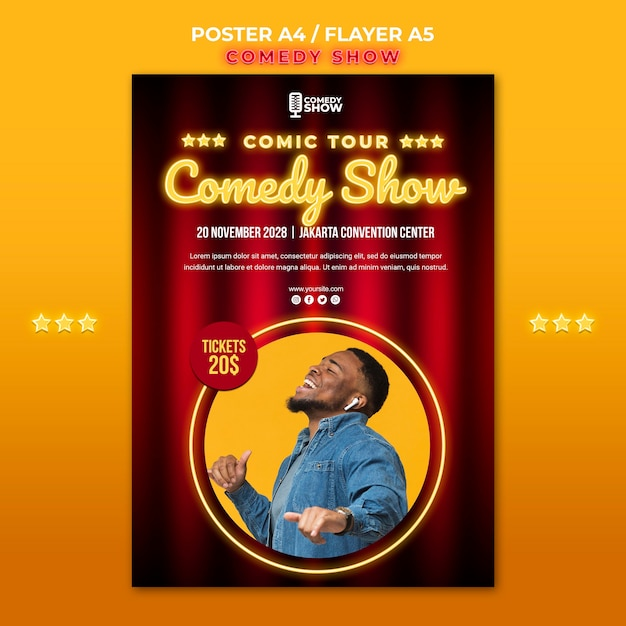 Comedy show flyer template Free Psd
