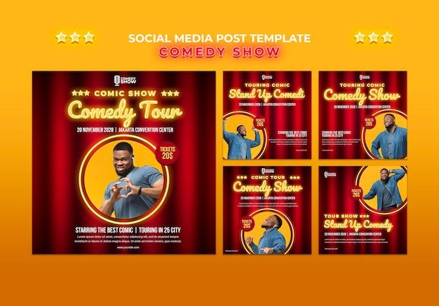 Comedy show social media post template Free Psd
