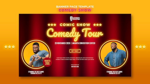 Comedy show template banner Free Psd