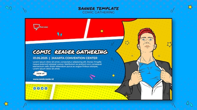 Comic banner template theme Free Psd
