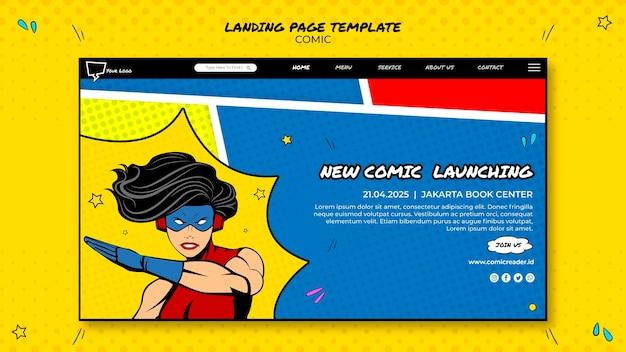Design della pagina di destinazione a fumetti Psd Gratuite