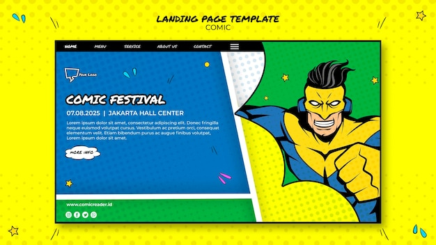 Comic landing page web template Free Psd