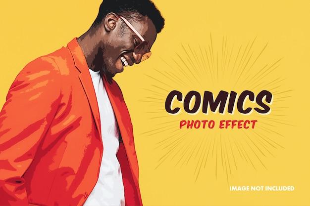 Comic photo effect mockup Premium Psd