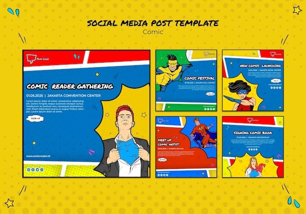 만화 소셜 미디어 게시물 프리미엄 PSD 파일