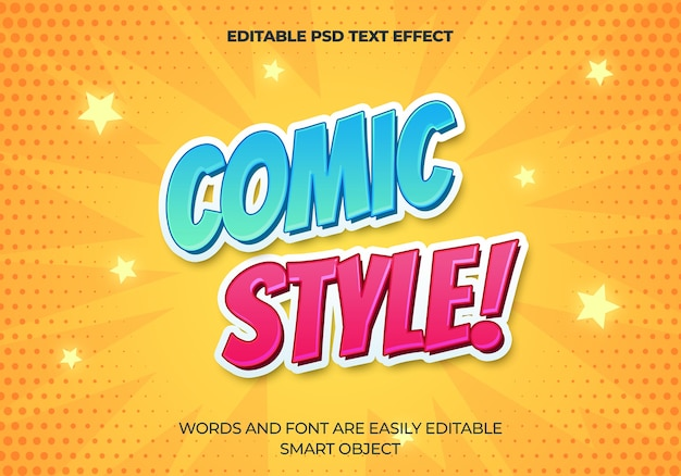 Comic style text effect Free Psd