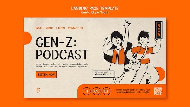 만화 스타일 청소년 방문 페이지 템플릿 무료 PSD 파일