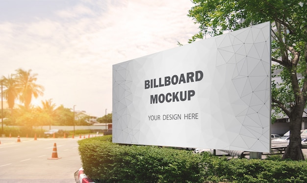 Commercial billboard mockup display outdoor Premium Psd