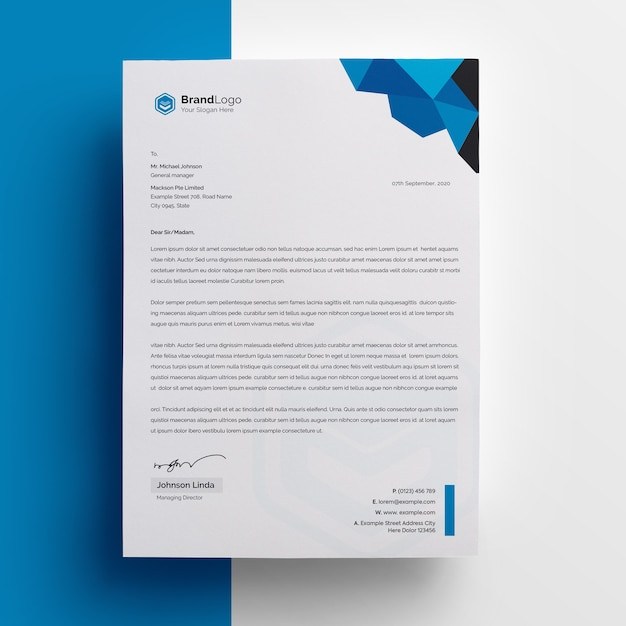 Company letterhead template with blue accent Premium Psd
