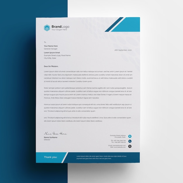 Company letterhead template with cyan accent Premium Psd