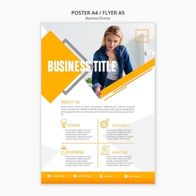 Modello di presentazione di poster aziendali Psd Gratuite