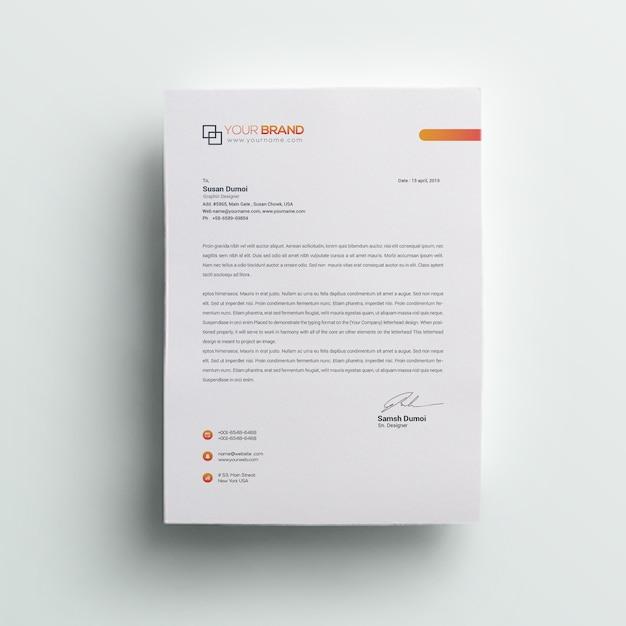 회사 전문 편지지 프리미엄 PSD 파일