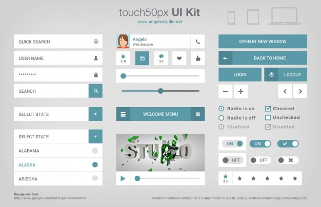 Complete ui kit psd material Free Psd