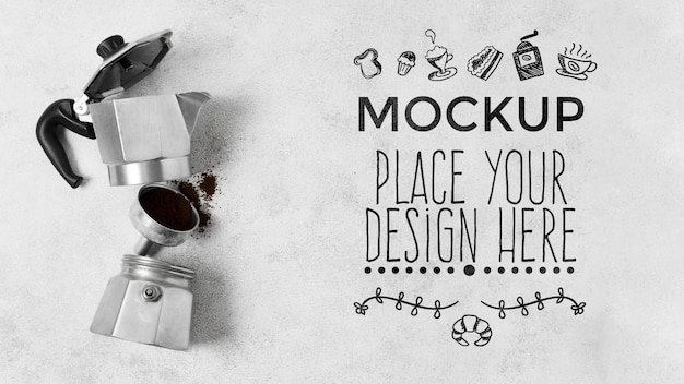 Components of a coffee grinder mock-up Free Psd