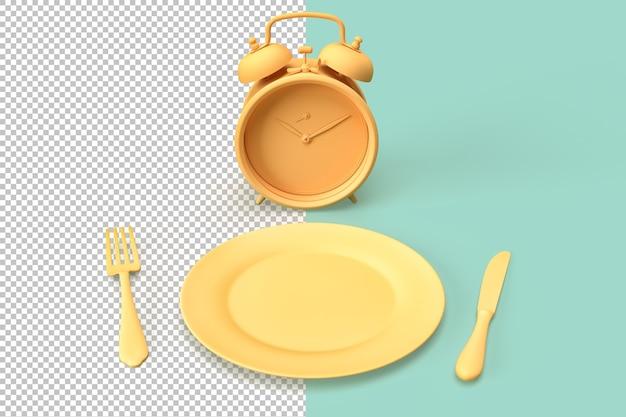 Композиция с будильником, тарелкой и посудой Premium Psd