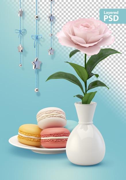 クッキーの花と吊り飾りの構成 無料 Psd