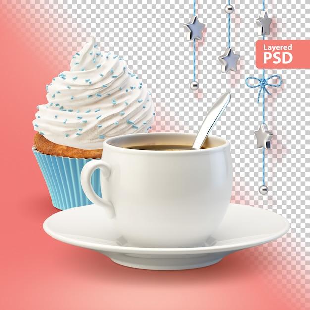 白いコーヒーカップとカップケーキの組成 無料 Psd