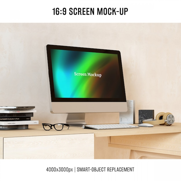 Computer mock up design Free Psd