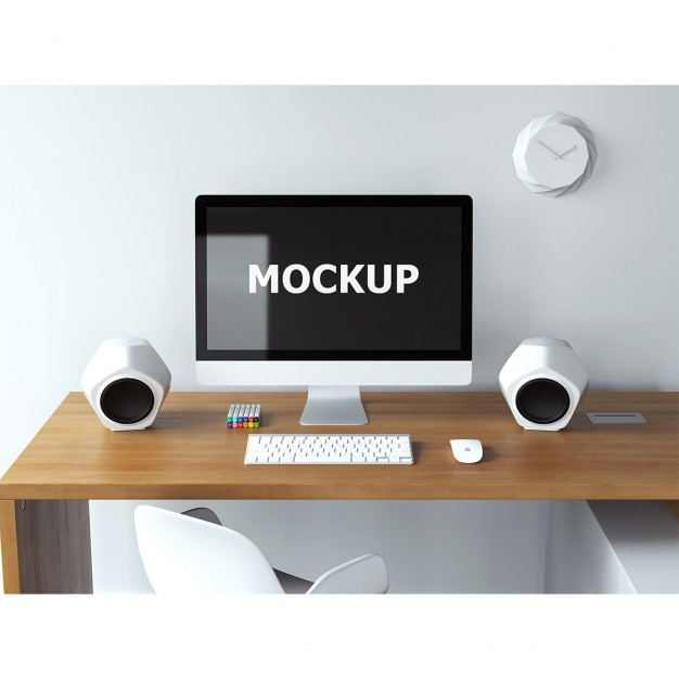Computer Mockup On Desk Psd File Free Download
