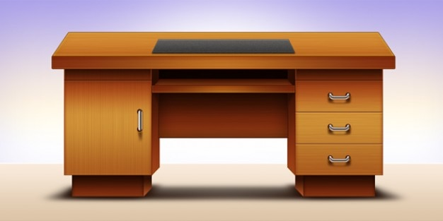 Computer office table design psd psd file free download for Table bureau design