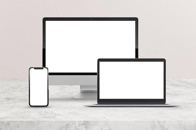 컴퓨터, 휴대 전화 및 노트북 장면 모형 프리미엄 PSD 파일