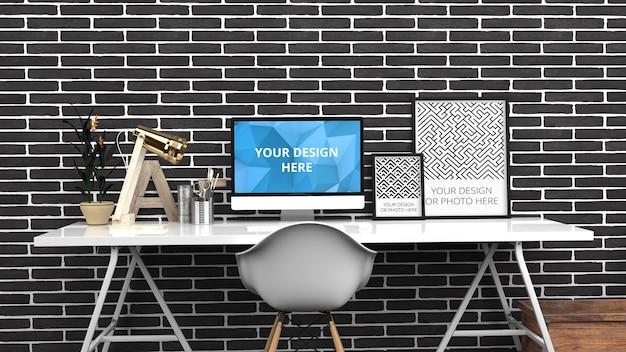 검은 벽돌 현대 홈 오피스의 컴퓨터 화면 및 세로 포스터 목업 프리미엄 PSD 파일