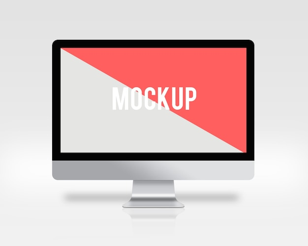 Computer screen on white background mock up Free Psd
