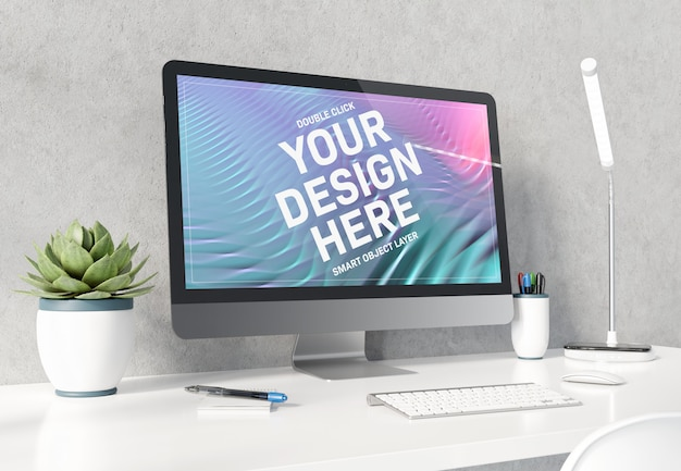 Computer on white desktop mockup Premium Psd