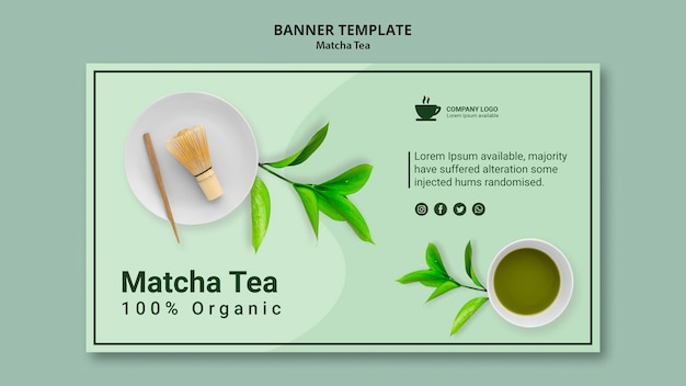 Concept for banner template for matcha tea Free Psd
