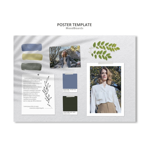 Concept of moodboard for poster template Free Psd