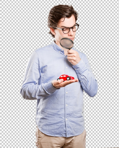 Concept of a young man and a car insurance Premium Psd
