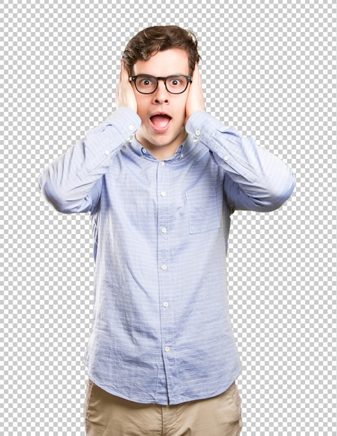 Concerned young man covering his ears Premium Psd