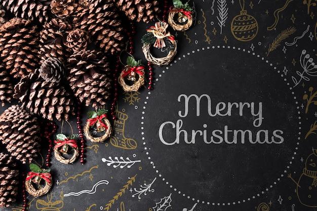 Шишки и венцы подготовлены к рождеству Бесплатные Psd
