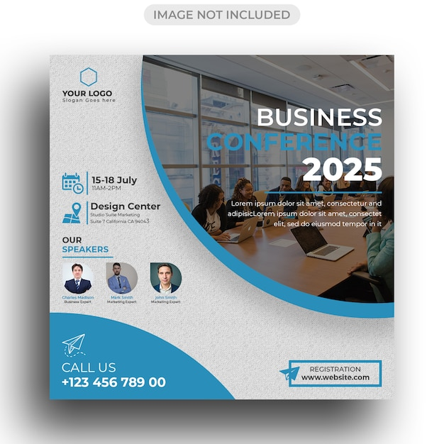 Conference flyer social media post template Premium Psd