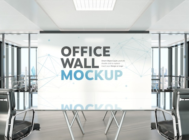Conference room in modern office mockup Premium Psd