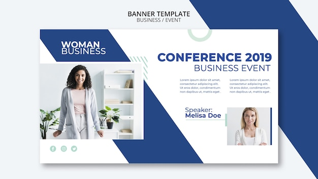 Conference template with business woman concept Free Psd