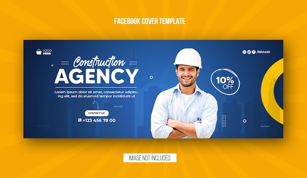 Construction agency facebook cover and web banner template design Premium Psd