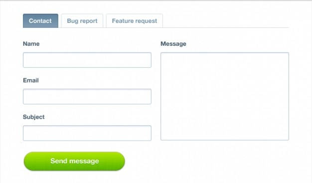 Contact form with tabs Free Psd