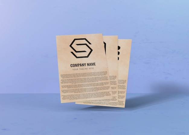 Contract mock-up paper and space for company logo Free Psd