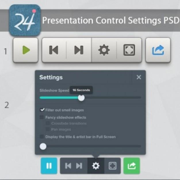 Control settings ui kit psd Free Psd