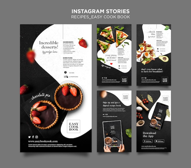 Cook book instagram stories template Free Psd