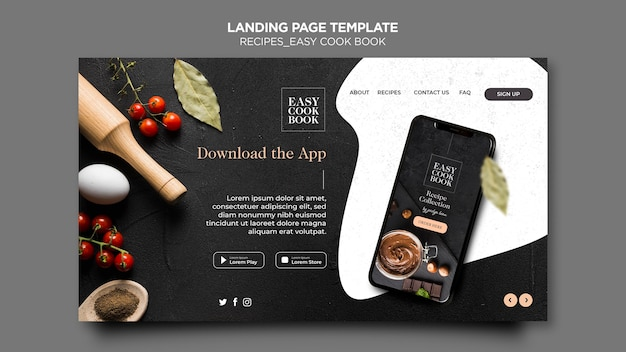 Cook book landing page template Free Psd