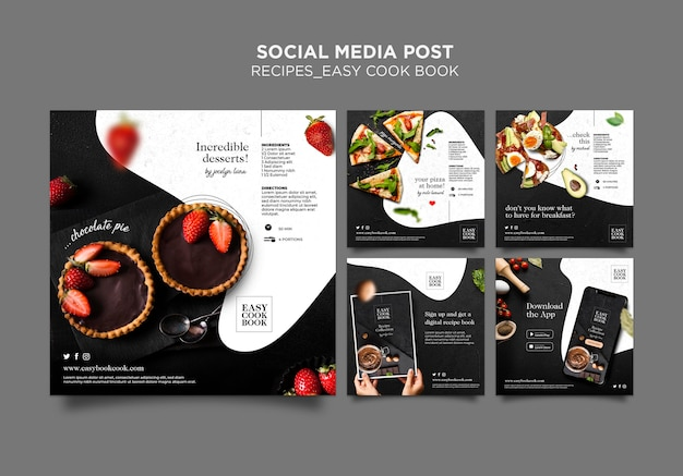 クックブックソーシャルメディア投稿テンプレート Premium Psd
